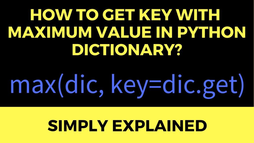 Key Max Val Dic Python