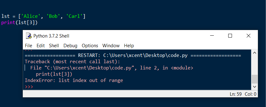 Python IndexError: List Index Out of Range