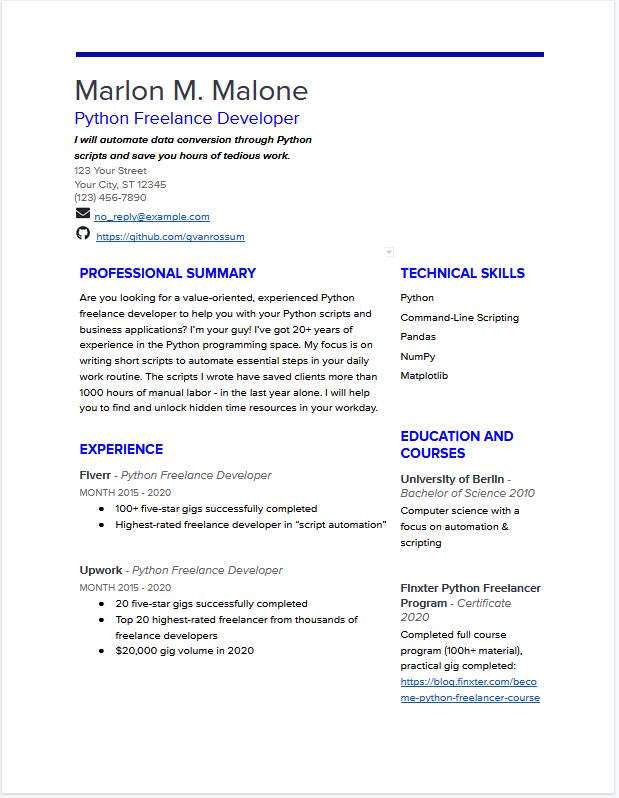 Freelance Developer Resume (Free Download PDF + Google Docs)
