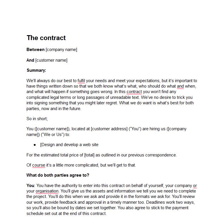 Freelance Web Developer Contract