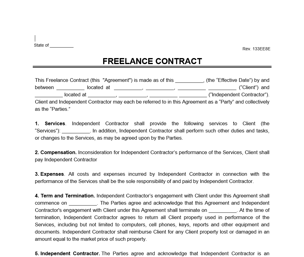 Freelance Contract Template Word