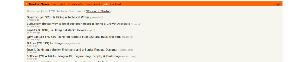 Hacker News Jobs