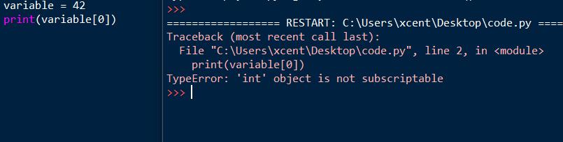 TypeError: 'int' object is not subscriptable