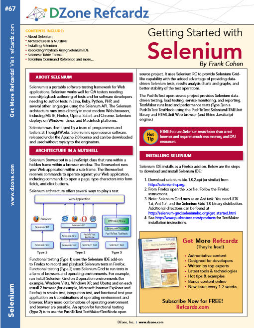 Selenium Cheat Sheet