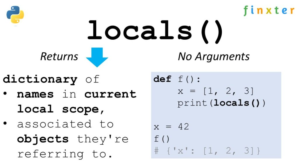 Python locals() visual guide