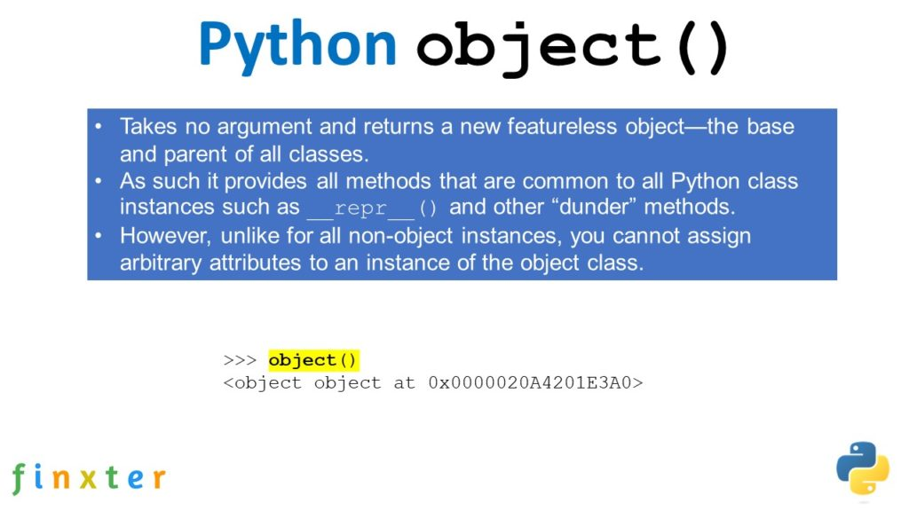 Python object() Function