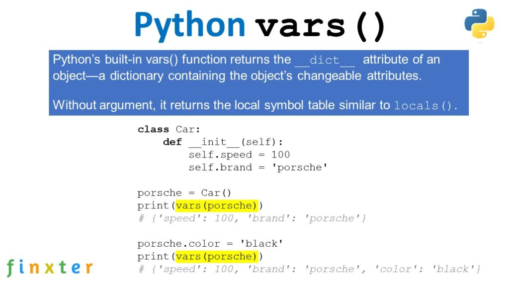 Python vars() Function - Explanation + Example