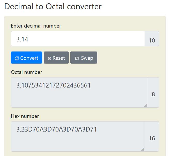 Decimal to Octal converter (float)