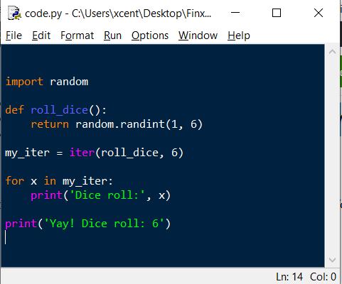 Python IDLE - Code Highlighting Example