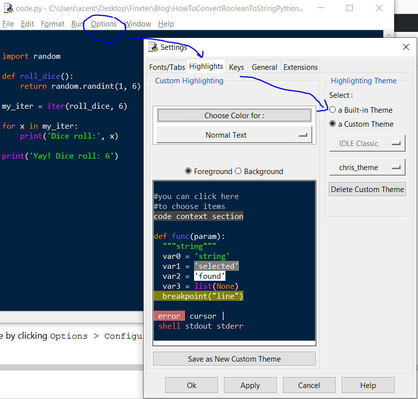 Python IDLE change code highlighting theme