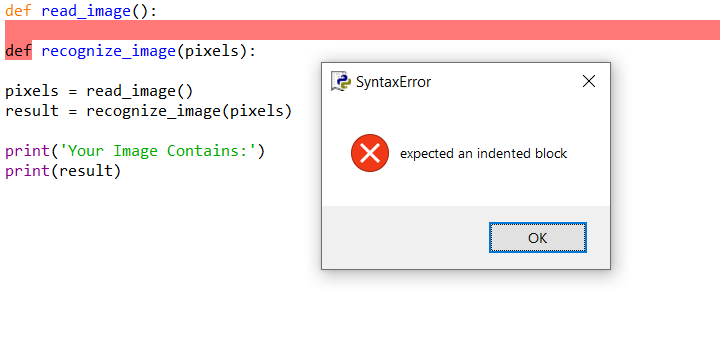 IndentationError: expected an indented block