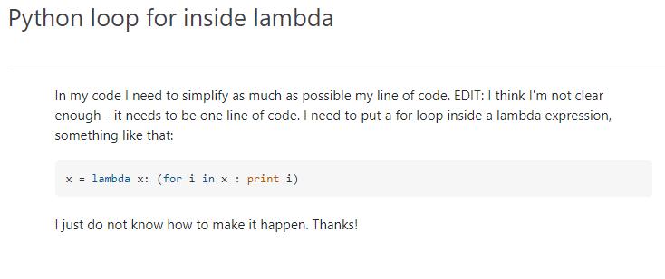 Python For Loop Inside Lambda