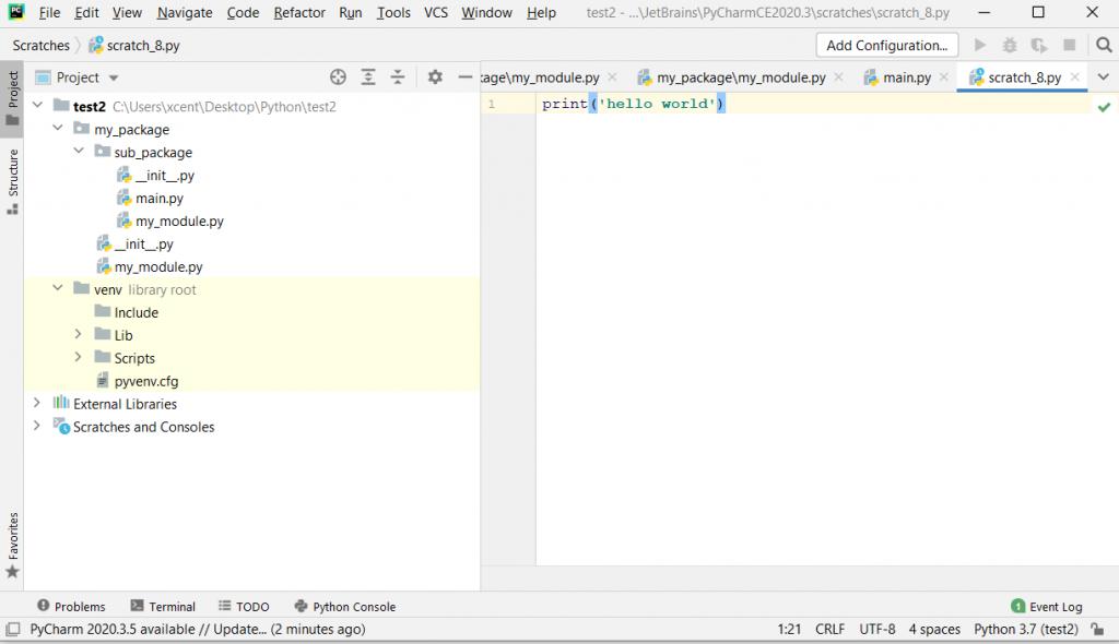 PyCharm Screenshot