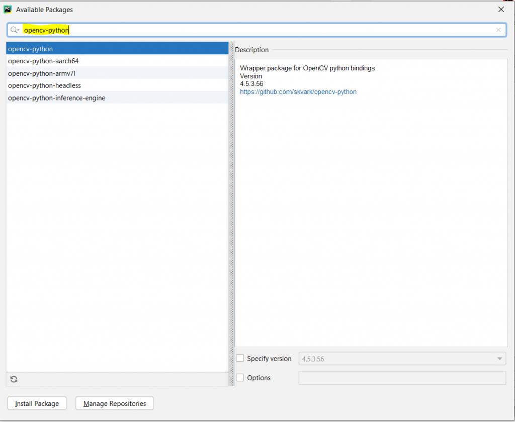 Install OpenCV Python PyCharm