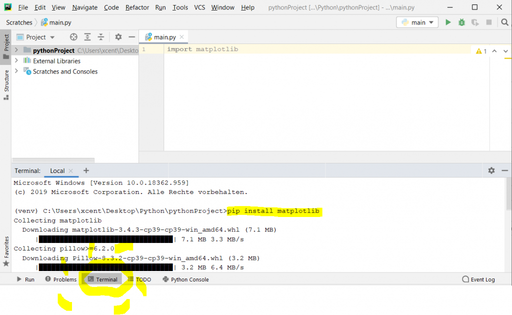 pip install matplotlib on PyCharm