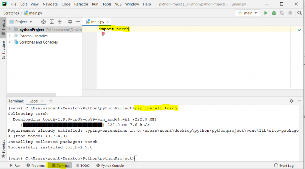 pip install torch on PyCharm