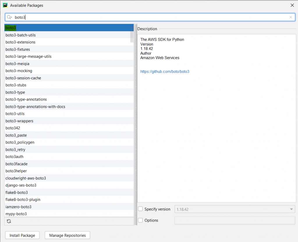 PyCharm boto3 package