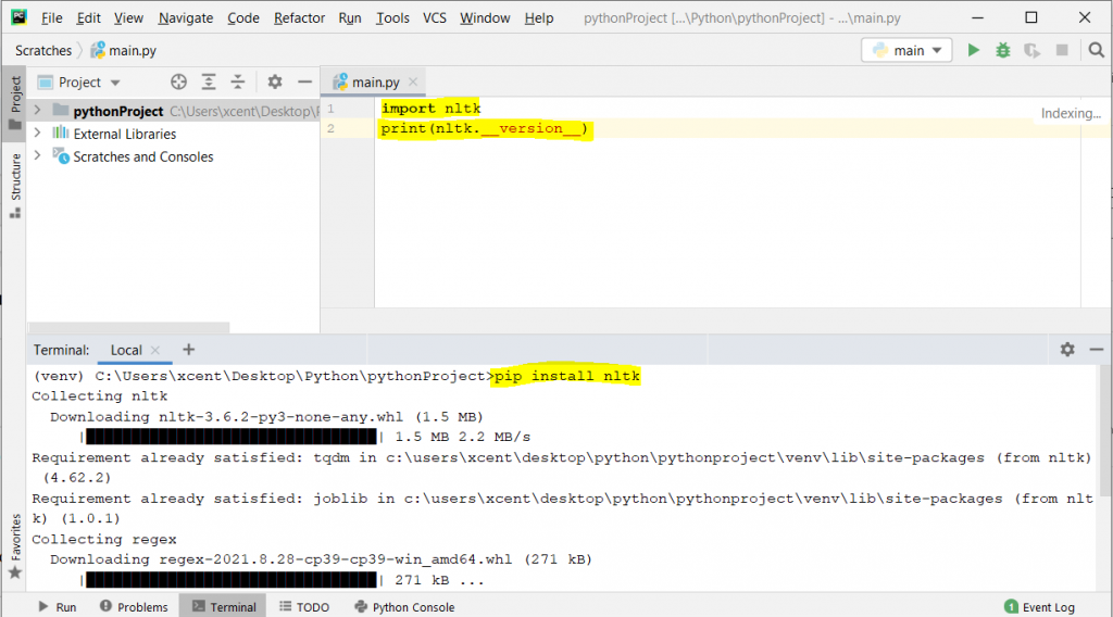 NLTK in PyCharm - pip install & checking version